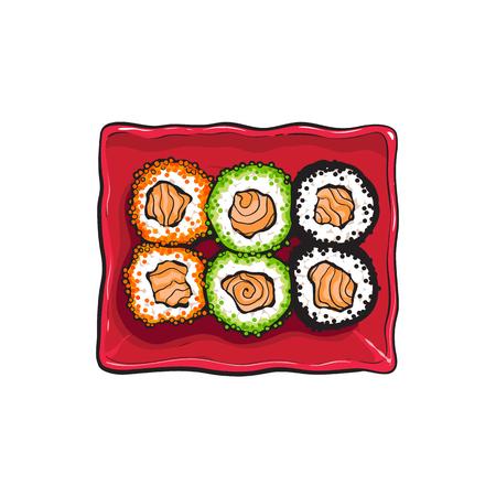 Plaat van Japanse sushireeks, de hoogste tekening van de meningshand, de vectorillustratie van de schetsstijl die op witte achtergrond wordt geïsoleerd. Sushi serveren plaat, Aziatische, Chinese, Japanse keuken Stockfoto