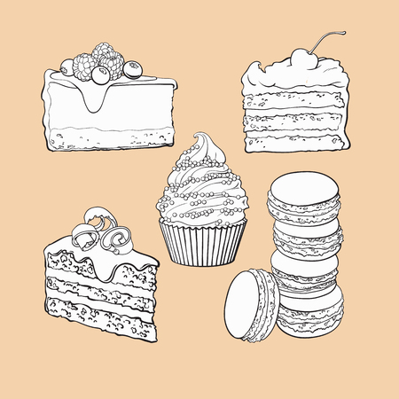 black and white Dessert collection - cupcake, chocolate and vanilla cake, cheesecake, macaroons, sketch vector illustration isolated on color background. Hand drawn sweet desserts