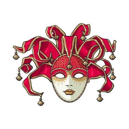 Carnaval de Venise décoré, masque de bouffon avec des cloches et des paillettes d'or, illustration de vecteur de style croquis isolé sur fond blanc. Dessin réaliste de carnaval à la main, masque vénitien avec des cloches Vecteurs