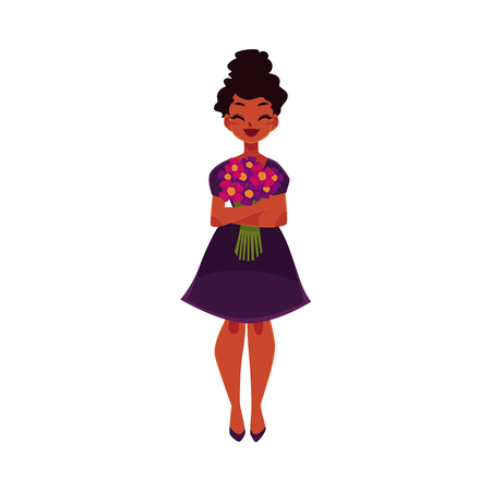 Black, African American woman, girl holding bunch of field flowers, cartoon vector illustration isolated on white background. Full length portrait of happy black girl, woman with bunch of flowers