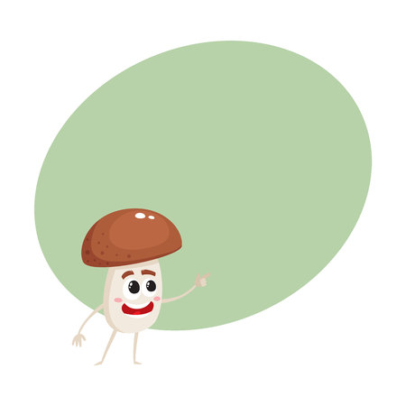 Funny porcini mushroom character with human face showing, pointing to something, cartoon vector illustration with space for text. Smiling porcini mushroom character pointing with finger Illustration