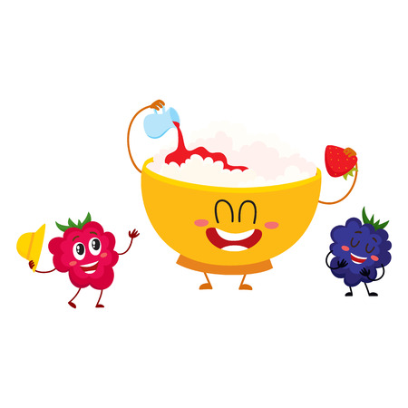 Grappige lachende kom kwark en framboos, blackberry berry tekens, cartoon vectorillustratie geïsoleerd op een witte achtergrond. Leuke en grappige kwarkkom en bessenkarakters Stock Illustratie