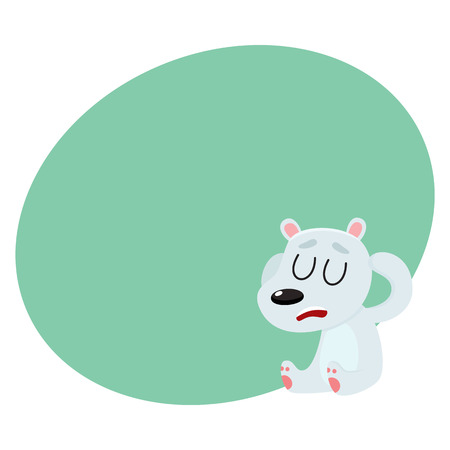 Baby polar bear having headache, sitting with closed eyes, holding its head, cartoon vector illustration with space for text. Little white, polar bear having headache, head ache