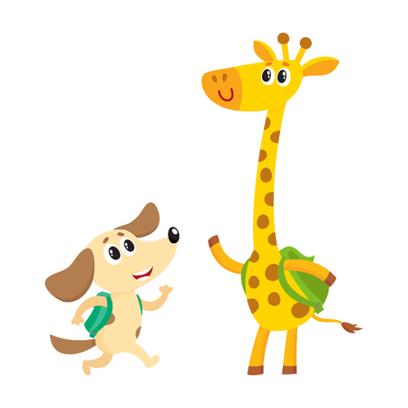 Cute animal student characters, dog and giraffe with backpacks meeting in class, cartoon vector illustration isolated on white background. Little animal student characters, back to school concept Illustration
