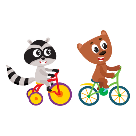 Cute little raccoon and bear characters riding bicycles together, cartoon vector illustration isolated on white background. Baby raccoon and bear animal characters riding bicycle and tricycle