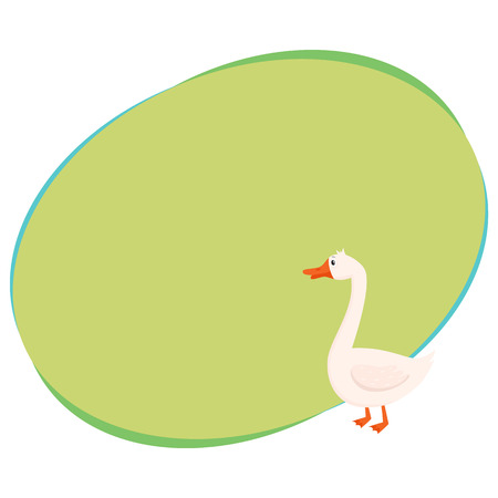 Cute and funny farm goose, cartoon vector illustration with space for text. Cute cartoon, comic style white farm goose with orange beak and paws Illustration