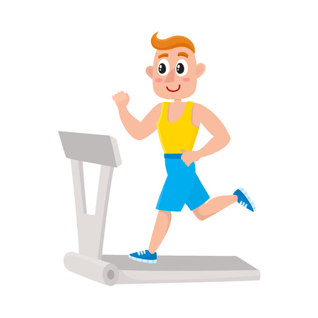 Young man running on treadmill, training in gym, doing sport exercises, cartoon vector illustration isolated on white background. Cartoon man, guy running on treadmill, doing cardio in gym Ilustracja