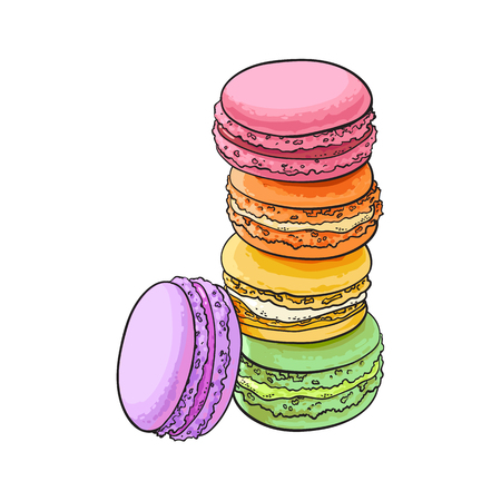 Stack of colorful macaron, macaroon almond cakes, sketch style vector illustration isolated on white background. Stack, pile of colorful almond macaron, macaroon biscuits, sweet and beautiful dessert Иллюстрация