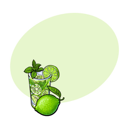 freshly: Whole lime and glass of freshly squeezed juice, mojito, cocktail with ice and mint, sketch vector illustration with space for text. Hand drawn glass of lime juice and lime quarter