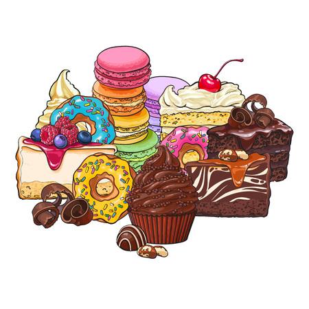 porcion de torta: Pila, montón de varios pasteles, dulces, donas, macarrones y otros postres y pasteles, boceto ilustración vectorial aislado sobre fondo blanco. Grupo de varios pasteles, pasteles y postres