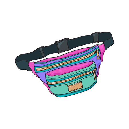 Old fashioned, retro style colorful waist bag, fashion accessory from 90s, sketch vector illustration isolated on white background. Hand drawn waist bag, pack, popular personal item from nineties Imagens - 80715878