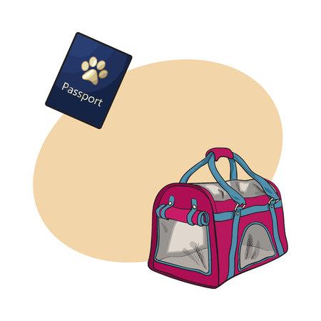 猫、犬の輸送バッグ、キャリア、ペット ・ パスポート、テキスト用のスペースとスケッチ ベクトル図と旅行します。手描きペット キャリア輸送バ