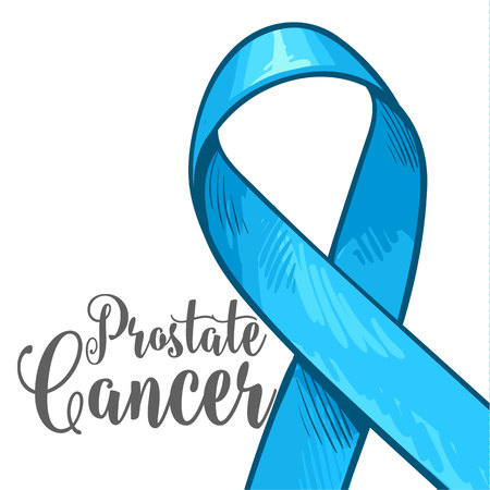 Prostate cancer awareness month banner, poster, template with hand drawn blue ribbon, sketch vector illustration. Hand drawn blue ribbon, prostate cancer awareness month campaign banner, poster, card Ilustrace