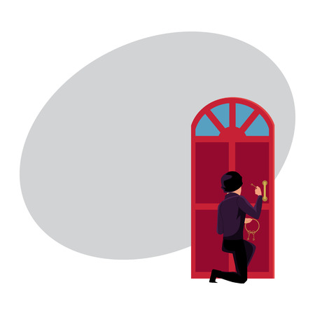 Thief, burglar trying to break in house by lockpicking door, cartoon vector illustration with space for text. Burglar, robber, thief in disguise breaking into house, trying to force open door