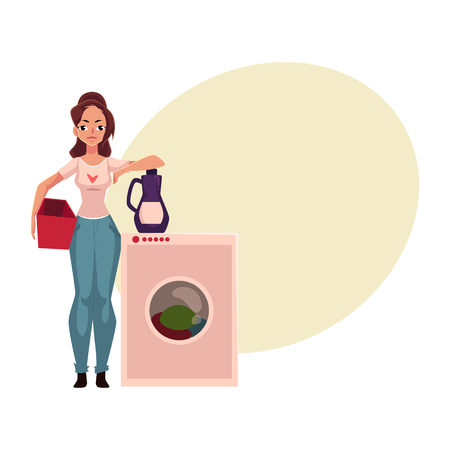 maching: Young woman, housewife standing next to washing machine, washing clothes, cartoon vector illustration with space for text.