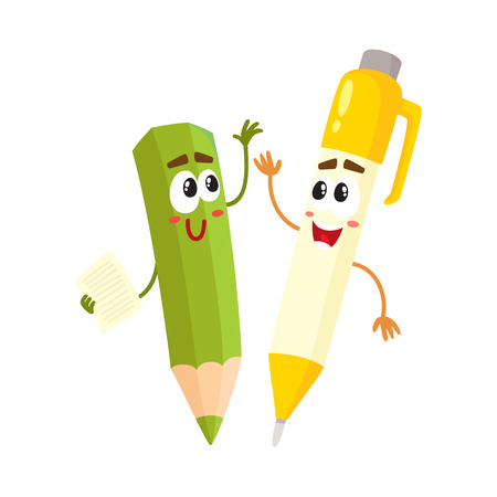 Cute, funny pen and pencil characters with smiling human faces cheering, clapping hands, cartoon vector illustration isolated on white background. Smiling student pen and pencil characters, mascots Иллюстрация