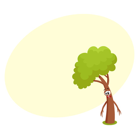 Funny comic tree character feeling sad, upset, discouraged, showing despair, cartoon vector illustration with space for text. Funny tree character, mascot with human face, feeling sad, upset Illustration