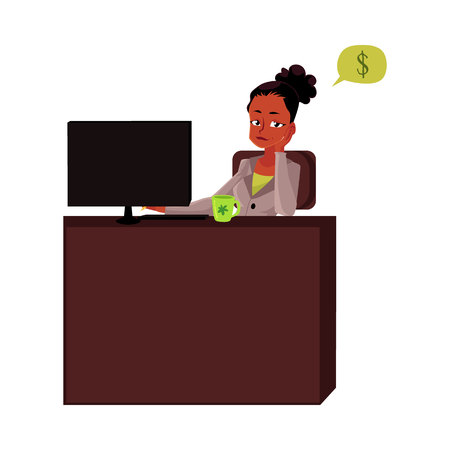 Black, African American businesswoman, secretary, sitting in office, thinking of money, cartoon vector illustration isolated on white background. Black businesswoman, secretary thinking of money 版權商用圖片 - 80829379