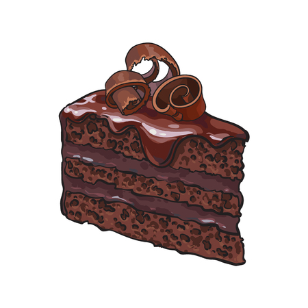 Hand drawn piece of layered chocolate cake with icing and shavings, sketch style illustration isolated on white background. Realistic hand drawing of piece, slice of chocolate cake