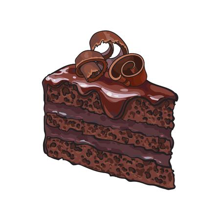 Übergeben Sie gezogenes Stück überlagerten Schokoladenkuchen mit Zuckerglasur und Schnitzeln, Skizzeartillustration, die auf weißem Hintergrund lokalisiert wird. Realistische Handzeichnung des Stückes, Stück Schokoladenkuchen