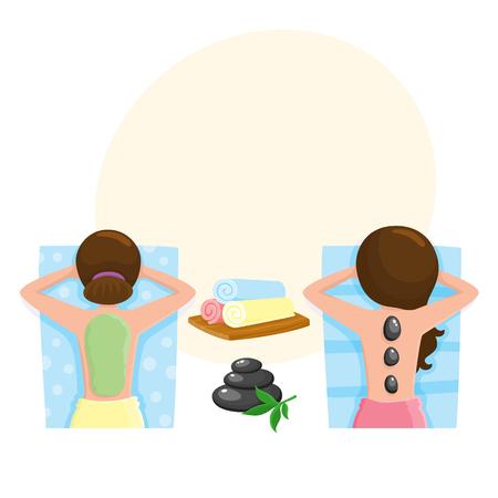 Spa salon precedures - massage aux pierres chaudes, algues, masque de boue, illustration de vecteur de dessin animé avec un espace pour le texte. Photo vue de dessus d'une femme recevant un massage aux pierres chaudes et un masque de boue, accessoire de salon spa Vecteurs