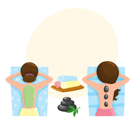 Spa salon precedures - hot stone massage, algae, mud mask, cartoon vector illustration with space for text. Top view picture of woman getting hot stone massage and mud mask, spa salon accessory