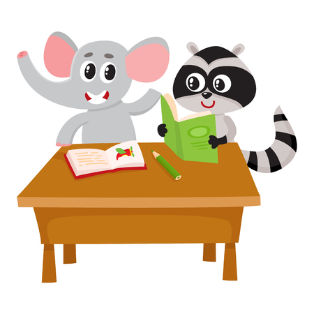 raise: Cute elephant and raccoon student characters sitting at school desk, reading, cartoon illustration isolated on white background. Little elephant and raccoon students, back to school concept Illustration