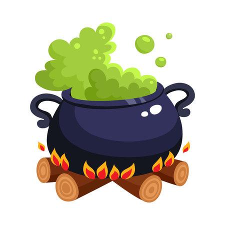 Halloween-caldron, ketel met kokend groen drankje op houten die brand, beeldverhaalillustratie op witte achtergrond wordt geïsoleerd. Halloween-caldron van de beeldverhaalstijl met magisch groen drankje dat binnen kookt