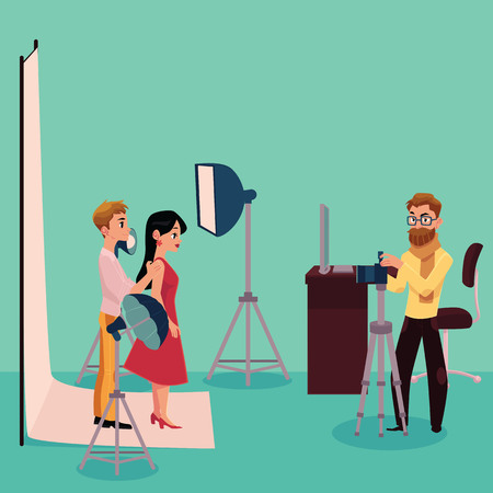 Photographer taking pictures, shooting a couple in fully equipped professional studio, cartoon vector illustration on white background. Photographer working in studio with professional photo equipment