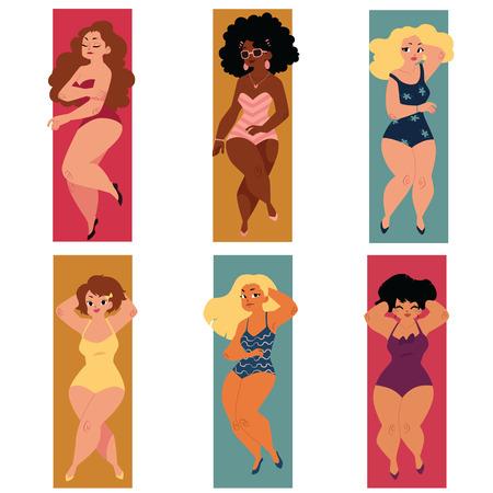 Conjunto de regordetas, con sobrepeso, tallas grandes mujeres curvas, niñas en trajes de baño acostado en la playa, ilustración vectorial de dibujos animados aislado sobre fondo blanco. Conjunto de mujeres regordetas y con sobrepeso en trajes de baño Foto de archivo - 80975636