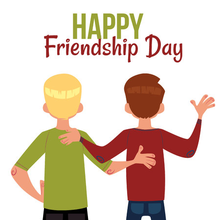 Happy friendship day greeting card with back view of two men, friends hugging, cartoon vector illustration on white background. Back view portrait of male friends, friendship day greeting card 向量圖像