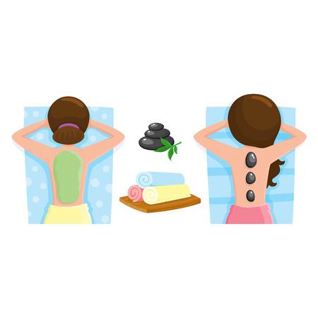 Spa salon precedures - masaje de piedras calientes, algas, máscara de barro, ilustración vectorial de dibujos animados sobre fondo blanco. Imagen de la vista superior de la mujer que consigue masaje con piedras calientes y máscara de barro, accesorio de salón de spa Foto de archivo - 80975658