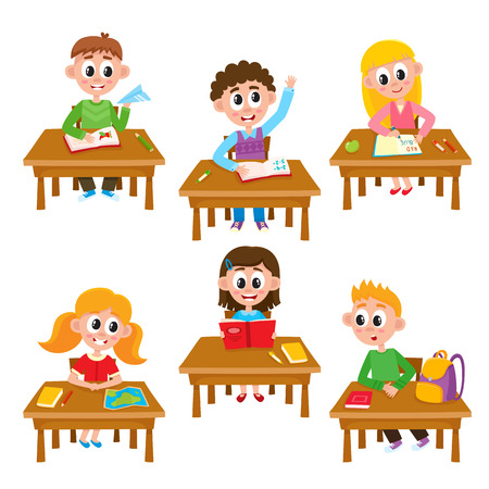 Elementary school kids in classroom - reading, writing, raising hand, studying, cartoon illustration isolated on white background. Kids in classroom, students of elementary, primary school