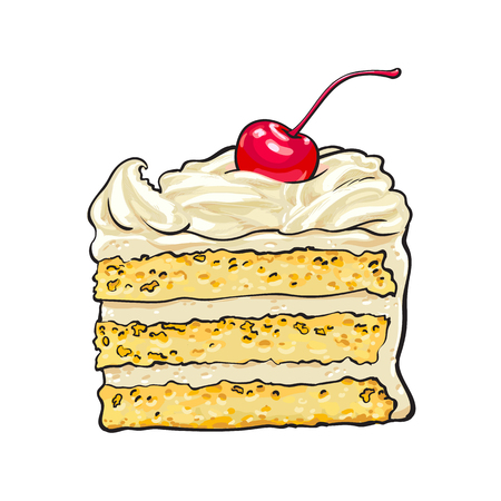 Hand drawn piece of classic layered cake with vanilla cream and cherry decoration, sketch style vector illustration isolated on white background. Realistic hand drawing of piece, slice of layered cake Ilustração