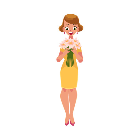 Woman, girl in yellow dress holding bunch of daisy flowers, cartoon vector illustration isolated on white background. Full length portrait of girl, woman holding bunch of flowers, happy and surprised