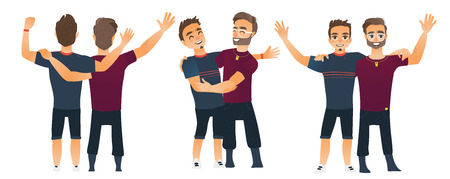 Male friendship concept, couple of boys, best friends hugging each other, cartoon vector illustration isolated on white background. Set of boys, men, friends standing and hugging each other Illustration