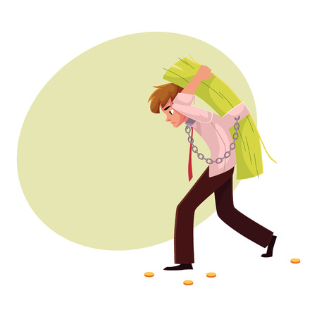 hunched: Man carrying bundle of banknotes on his back, money dependence, cartoon vector illustration with space for text. Man chained to bundle of banknotes he carries on back, financial dependence