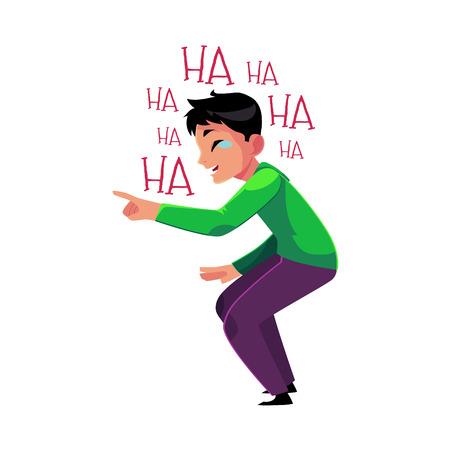 Jeune homme éclater de rire, pleurer de rire, pointer, plier les genoux, illustration de vecteur de dessin animé isolé sur fond blanc. Portrait, jeune, rire, rire, larmes Vecteurs