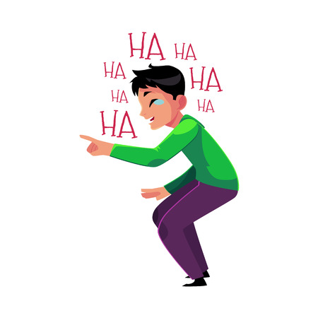 laugh out loud: Young man laughing out loud, crying from laughter, pointing, bending knees, cartoon vector illustration isolated on white background. Portrait of young man bursting with laughter, laughing to tears