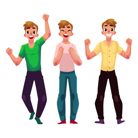 Three men, boys, friends rejoicing, cheering, celebrating, clenching fists in excitement, cartoon vector illustration isolated on white background. Full length portrait of happy rejoicing young men