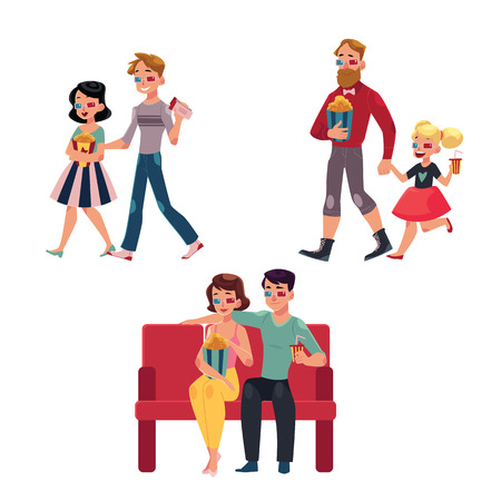 People go to cinema, movie theatre with popcorn, drinks, 3d glasses, cartoon vector illustration isolated on a white background. Couples, friends, father and daughter in 3d glasses go to cinema, movie Ilustração