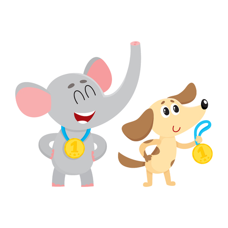 Cute elephant and dog, puppy characters, champions with golden winner medals, cartoon vector illustration isolated on white background. Baby elephant and dog champions who win first place medals