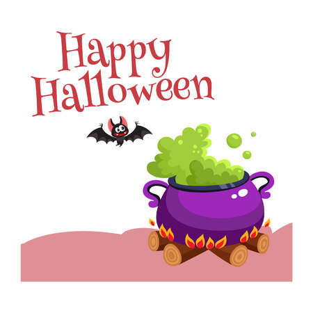 Gelukkige Halloween-groetkaart, affiche, bannerontwerp met knuppel en caldron, beeldverhaal vectordieillustratie op witte achtergrond wordt geïsoleerd. Halloween-groetkaart, banner, affiche met caldron en knuppel