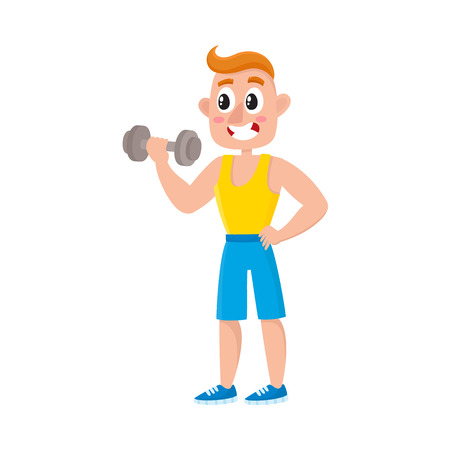 Young man training biceps with dumbbell, doing sport exercises in gym, cartoon vector illustration isolated on white background. Cartoon man, guy doing fitness, weightlifting, bodybuilding in gym Illustration