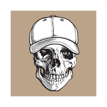Hand drawn human skull wearing black and white unlabelled baseball cap, sketch vector illustration isolated on brown background. Realistic hand drawing of skull wearing baseball cap Illustration