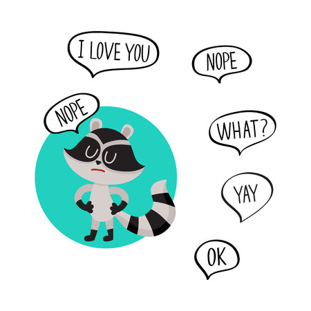 denial: Cute little raccoon character with Nope word in speech bubble and additionally phrase, cartoon vector illustration isolated on white background.