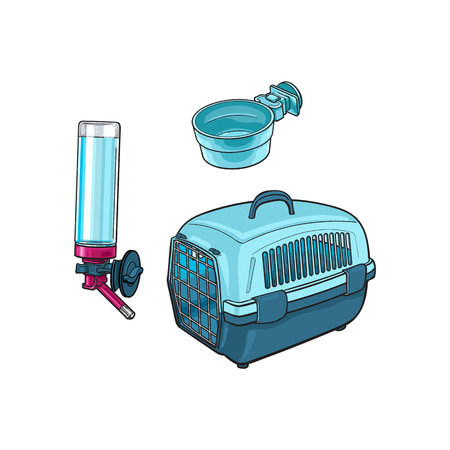 Plastic pet travel carrier, feeding bowl and refillable drinker, sketch vector illustration isolated on white background. Hand drawn plastic pet carrier, bowl and drinker for pet transportation Stok Fotoğraf - 80975935