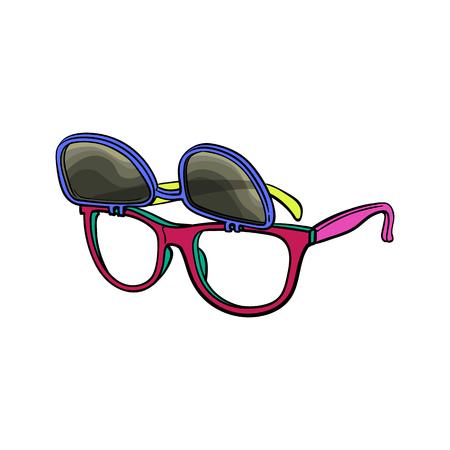 Retro wayfarer sunglasses with removable lenses, fashion accessory from 90s, sketch vector illustration isolated on white background. Retro sunglasses with removable lenses, personal item from 90s