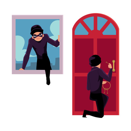 Thief, burglar breaking in house through front door and window, cartoon vector illustration isolated on white background. Burglar, thief breaking into house by snapping door lock, climbing in window
