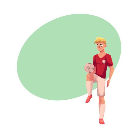 Voetbal, voetbal speler spelen keepie-uppie, bal jongleren, cartoon vectorillustratie met ruimte voor tekst. Professionele voetballer die met een voetbalbal jongleren met het schoppen met knie Stock Illustratie